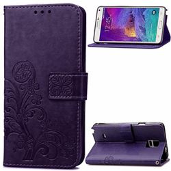 Embossing Imprint Four-Leaf Clover Leather Wallet Case for Samsung Galaxy Note 4 - Purple