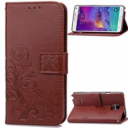Embossing Imprint Four-Leaf Clover Leather Wallet Case for Samsung Galaxy Note 4 - Brown