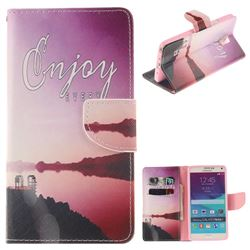 Seaside Scenery PU Leather Wallet Case for Samsung Galaxy Note4