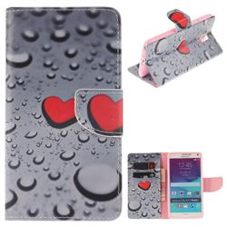 Heart Raindrop PU Leather Wallet Case for Samsung Galaxy Note4