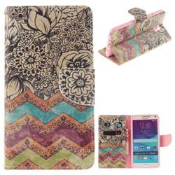 Wave Flower PU Leather Wallet Case for Samsung Galaxy Note4