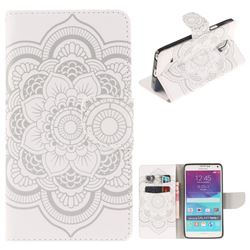 White Flowers PU Leather Wallet Case for Samsung Galaxy Note4
