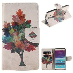 Colored Tree PU Leather Wallet Case for Samsung Galaxy Note4