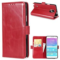 Luxury Crazy Horse PU Leather Wallet Case for Samsung Galaxy Note4 - Red