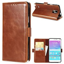Luxury Crazy Horse PU Leather Wallet Case for Samsung Galaxy Note4 - Brown