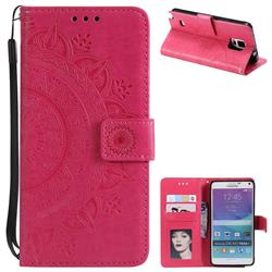 Intricate Embossing Datura Leather Wallet Case for Samsung Galaxy Note 4 - Rose Red