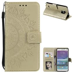 Intricate Embossing Datura Leather Wallet Case for Samsung Galaxy Note 4 - Golden