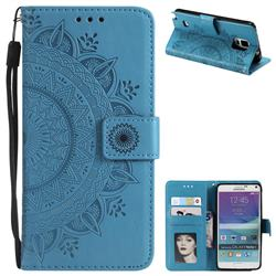 Intricate Embossing Datura Leather Wallet Case for Samsung Galaxy Note 4 - Blue