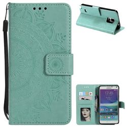 Intricate Embossing Datura Leather Wallet Case for Samsung Galaxy Note 4 - Mint Green