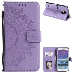 Intricate Embossing Datura Leather Wallet Case for Samsung Galaxy Note 4 - Purple