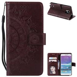 Intricate Embossing Datura Leather Wallet Case for Samsung Galaxy Note 4 - Brown