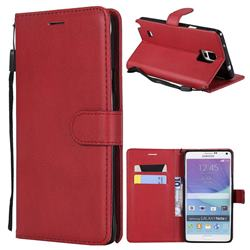 Retro Greek Classic Smooth PU Leather Wallet Phone Case for Samsung Galaxy Note 4 - Red