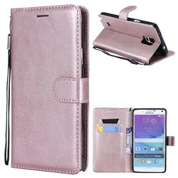 Retro Greek Classic Smooth PU Leather Wallet Phone Case for Samsung Galaxy Note 4 - Rose Gold