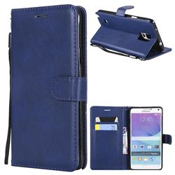 Retro Greek Classic Smooth PU Leather Wallet Phone Case for Samsung Galaxy Note 4 - Blue