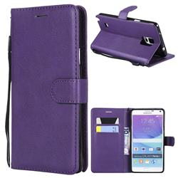Retro Greek Classic Smooth PU Leather Wallet Phone Case for Samsung Galaxy Note 4 - Purple