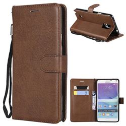 Retro Greek Classic Smooth PU Leather Wallet Phone Case for Samsung Galaxy Note 4 - Brown