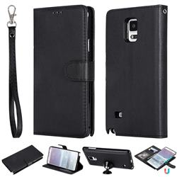 Retro Greek Detachable Magnetic PU Leather Wallet Phone Case for Samsung Galaxy Note 4 - Black