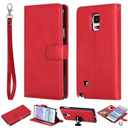 Retro Greek Detachable Magnetic PU Leather Wallet Phone Case for Samsung Galaxy Note 4 - Red