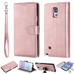 Retro Greek Detachable Magnetic PU Leather Wallet Phone Case for Samsung Galaxy Note 4 - Rose Gold