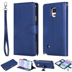 Retro Greek Detachable Magnetic PU Leather Wallet Phone Case for Samsung Galaxy Note 4 - Blue