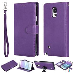 Retro Greek Detachable Magnetic PU Leather Wallet Phone Case for Samsung Galaxy Note 4 - Purple