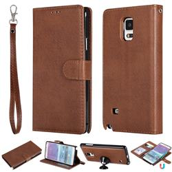 Retro Greek Detachable Magnetic PU Leather Wallet Phone Case for Samsung Galaxy Note 4 - Brown