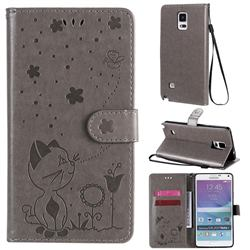 Embossing Bee and Cat Leather Wallet Case for Samsung Galaxy Note 4 - Gray