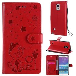 Embossing Bee and Cat Leather Wallet Case for Samsung Galaxy Note 4 - Red