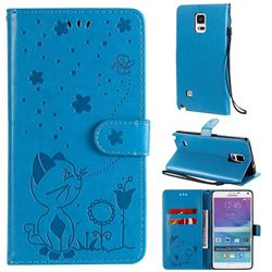 Embossing Bee and Cat Leather Wallet Case for Samsung Galaxy Note 4 - Blue