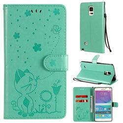 Embossing Bee and Cat Leather Wallet Case for Samsung Galaxy Note 4 - Green