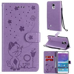 Embossing Bee and Cat Leather Wallet Case for Samsung Galaxy Note 4 - Purple