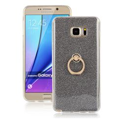Luxury Soft TPU Glitter Back Ring Cover with 360 Rotate Finger Holder Buckle for Samsung Galaxy Note 5 - Black