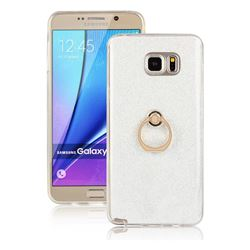 Luxury Soft TPU Glitter Back Ring Cover with 360 Rotate Finger Holder Buckle for Samsung Galaxy Note 5 - White