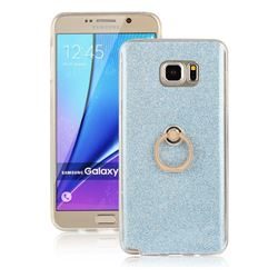 Luxury Soft TPU Glitter Back Ring Cover with 360 Rotate Finger Holder Buckle for Samsung Galaxy Note 5 - Blue