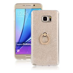 Luxury Soft TPU Glitter Back Ring Cover with 360 Rotate Finger Holder Buckle for Samsung Galaxy Note 5 - Golden