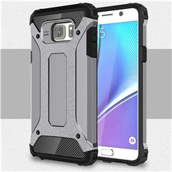 King Kong Armor Premium Shockproof Dual Layer Rugged Hard Cover for Samsung Galaxy Note 5 - Silver Grey