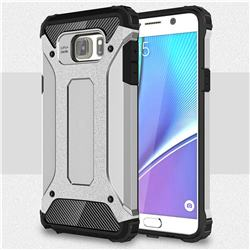 King Kong Armor Premium Shockproof Dual Layer Rugged Hard Cover for Samsung Galaxy Note 5 - Technology Silver