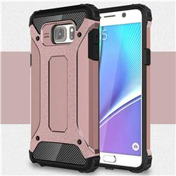 King Kong Armor Premium Shockproof Dual Layer Rugged Hard Cover for Samsung Galaxy Note 5 - Rose Gold
