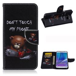 Chainsaw Bear Leather Wallet Case for Samsung Galaxy Note 5