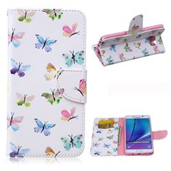 Colored Butterflies Leather Wallet Case for Samsung Galaxy Note 5