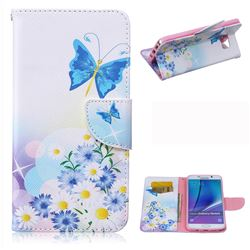 Butterflies Flowers Leather Wallet Case for Samsung Galaxy Note 5