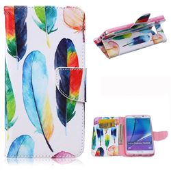 Colored Feather Leather Wallet Case for Samsung Galaxy Note 5