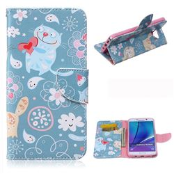 Loving Cat Leather Wallet Case for Samsung Galaxy Note 5