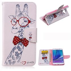 Glasses Giraffe Leather Wallet Case for Samsung Galaxy Note 5
