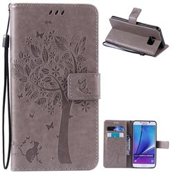 Embossing Butterfly Tree Leather Wallet Case for Samsung Galaxy Note 5 N920 - Grey