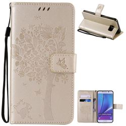Embossing Butterfly Tree Leather Wallet Case for Samsung Galaxy Note 5 N920 - Champagne