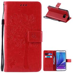 Embossing Butterfly Tree Leather Wallet Case for Samsung Galaxy Note 5 N920 - Red