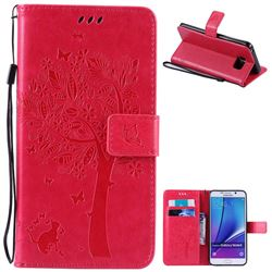 Embossing Butterfly Tree Leather Wallet Case for Samsung Galaxy Note 5 N920 - Rose