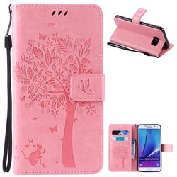 Embossing Butterfly Tree Leather Wallet Case for Samsung Galaxy Note 5 N920 - Pink