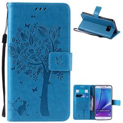 Embossing Butterfly Tree Leather Wallet Case for Samsung Galaxy Note 5 N920 - Blue